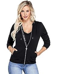 GUESS Factory Women's Myrah Active Logo Zip Hoodie