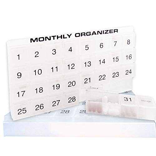 Production Open Shelf Center - 31 compartments, 1 per Day, 4 Week Monthly Pill Organizer by Promed. Includes Tray and 8 Removable compartments. (White)