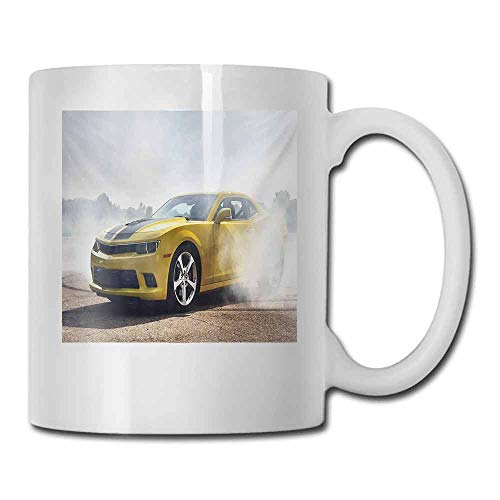Porcelain Tea Mug Cars Racer Sports Car in Course of Competition Drifting with Moving Wheels on Asphalt Win Photo Double-Sided 11 oz Yellow