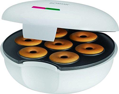 Donutmaker mit 900 Watt (Bagelmaker, Backgerät für 7 Donuts, Bagels, Backampel, Antihaft-Beschichtung)