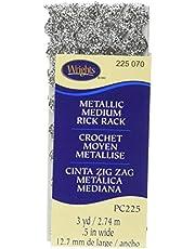 Wrights 117-225-070 Medium Metallic Rick Rack, Silver, 3-Yard