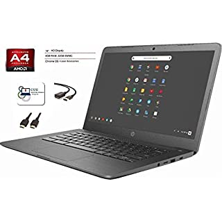HP Chromebook 14-inch Laptop Computer for Student Online Class/Remote Work, AMD A4, 4GB RAM, 32GB eMMC, WiFi, Bluetooth, Chrome OS + CUE Accessories