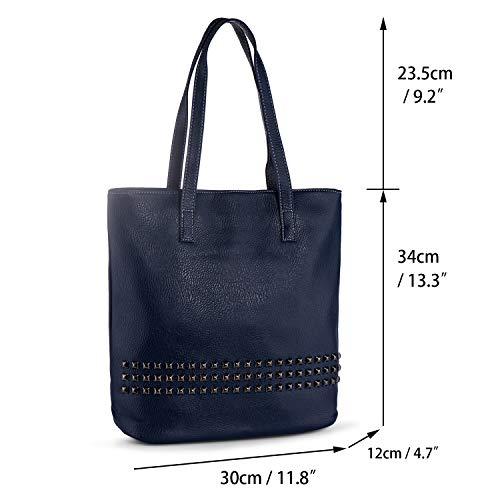 Azul Hombro Auténtica Tote de Grande Bolsos Shopper Remaches Bandolera Bolso de Negro Mujer Pìel de Bolso Awqncq5OZ