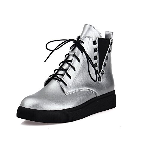 Boots AgooLar Solid Heels Material Toe Silver Round up Women's Lace Low Soft Closed rCPAwrq6