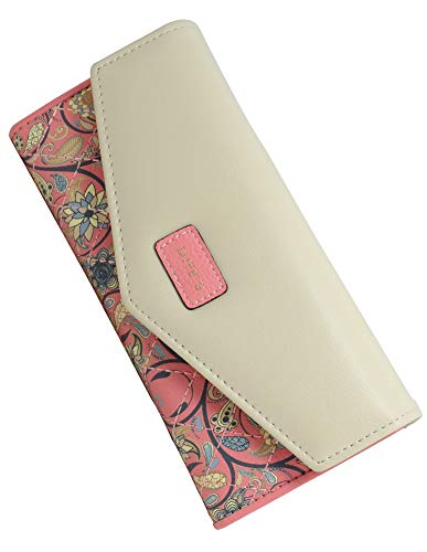 SeptCity Womens Wallet Floral Leather Western Trifold Clutch Gift for Her,2021 (Pink)