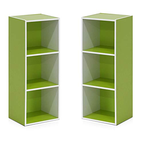 - Furinno Pasir 3-Tier Open Shelf Bookcase, White/Green 11003WH/GR - 2 Pack