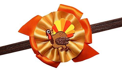 (WD2U Baby Girls Gobble Gobble Turkey Thanksgiving Hair Bow on Stretch)
