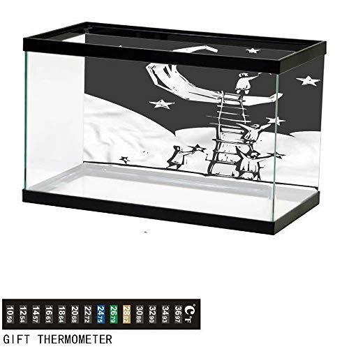 bybyhome Fish Tank Backdrop Fantasy,People on a Ladder,Aquarium Background,24