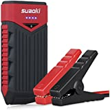 SUAOKI T10 12000 mAh 400 Amp Peak Portable Car Jump Starter Battery Booster with USB Power Bank Smart Clamp and LED Flashlight for Truck Motorcycle Boat Automotive (Red and Black)