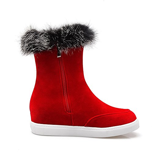 Allhqfashion Womens Frosted Ronde Dichte Teen Solide Low-top Kitten-hakken Laarzen Rood