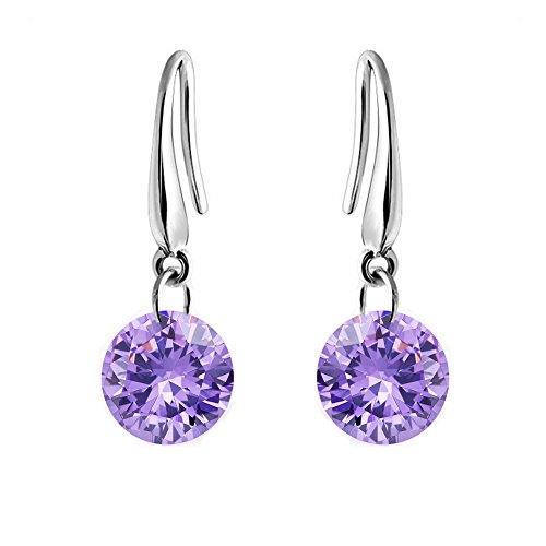 Sephla White Gold Plated 8.5 mm Naked Drill Super Sparkle Crystal Earrings For Women (Purple) Purple Stone Earrings