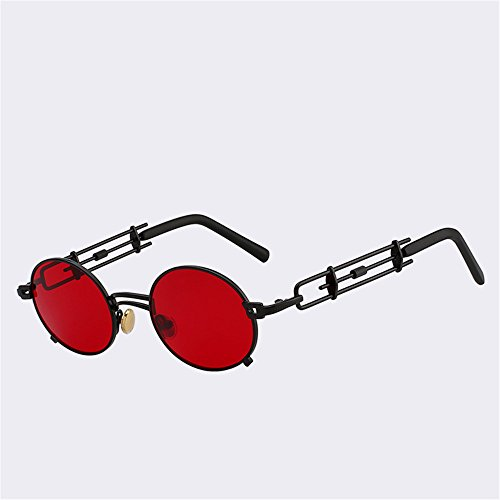 UV espejo Caminante con rojo Gafas Metal Protectora Viajar Playa Sombras Anteojos de Redondo Vintage Exteriores SYXSN moda400 Negro Negro HpT6qYwW