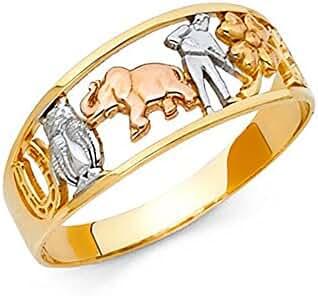 14K Tri-Color Gold Lucky Horse Shoe Elephant Owl
