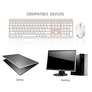 Wireless Keyboard Mouse, Jelly Comb 2.4GHz Ultra Slim Full Size Rechargeable Wireless Keyboard and Mouse Combo for Windows, Laptop, Notebook, PC, Desktop, Computer (White and Gold) (Color: White & Gold)
