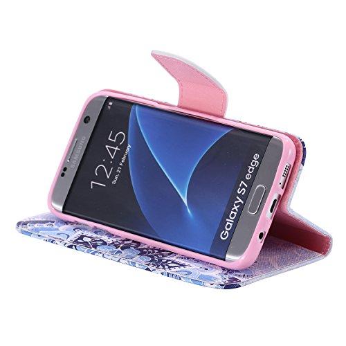 Funda para Samsung Galaxy S7, Galaxy S7 Funda de PU cuero resistente, Galaxy S7 Ultra Slim PU Cuero Folding Stand Flip Funda Carcasa Caso,Galaxy S7 Leather Case Wallet Protector Card Holders, Ukayfe C flores azules mitad