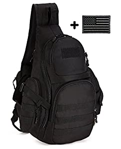 ArcEnCiel® Single Shoulder Crossbody Chest Bag School Hunting Heavy Duty Carrier Tactical Sport Survival Military Pack MOLLE System with Patch