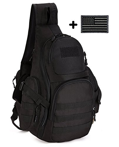 ArcEnCiel Tactical Sling Pack Backpack Military Shoulder Chest Bag with Patch
