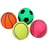 Kicode 1pc Lovely Durable Basketball/Soccer Shape soft Spherical Rubber Small Bouncy Ball Dog Training Chewing Playing Pet Toys Random Type