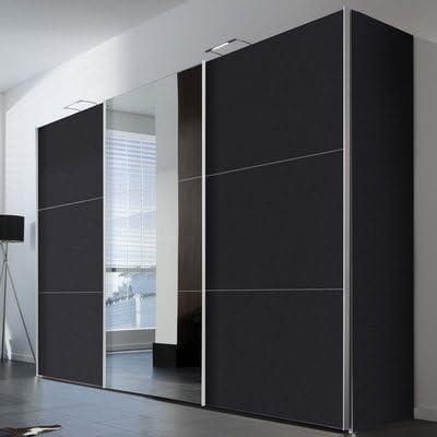 Solutions 45950 – 969 Armario de Puertas correderas (3 Puertas, Estructura y Frontal Grafito con alufarbig Espejo Mango Listones: Amazon.es: Hogar