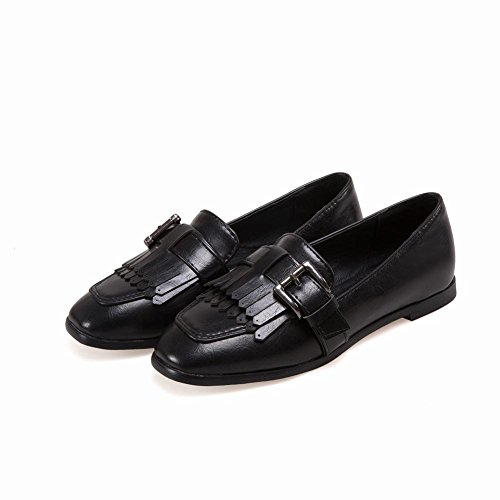 Comfort Flats Casual Black Toe Retro Square Carolbar Loafer Womens Buckle nxqFXURw87