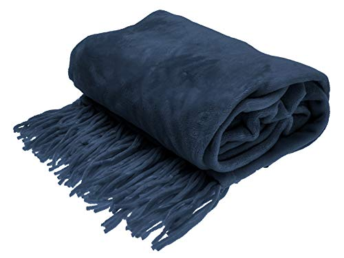 Style Basics Chenille Fringe Sofa Throw - Soft Warm Flannel Plush - for Couch and Sofa (Navy, Fringe Throw 50 X 70)