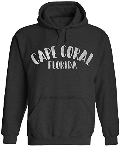 Austin Ink Apparel City of Cape Coral Florida Printed Unisex Adult Hooded Pullover Sweatshirt (Midnight Black, (Adult Midnight Black Cape)