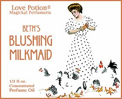 Love Potion Beth's Blushing Milkmaid ~ 1/3 Fl. Oz. Pheromone Enhanced Perfume Oil for (Concentrated Pheromone Cologne)