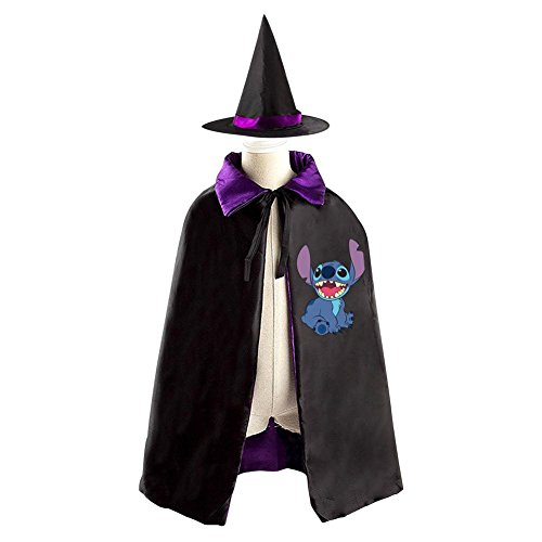 Lilo And Stitch Logo Kids Halloween Party Costume Cloak Wizard Witch Cape With Hat - Grand High Witch Costume
