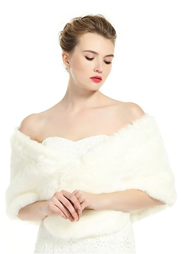 Wedding Faux fur Shawl For Women Bridal Cape Cover Up Party Gown Wrap ()