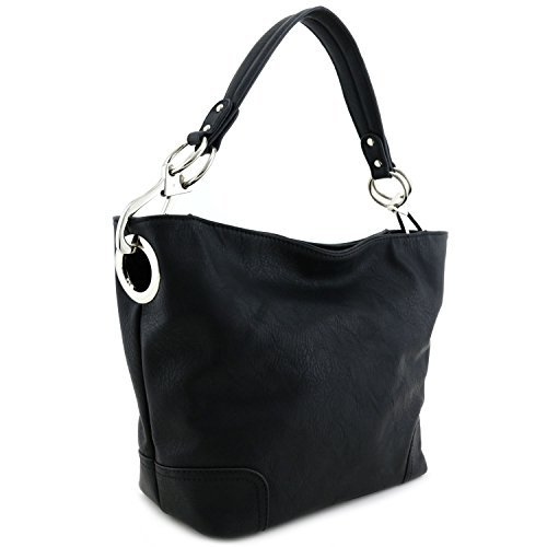 Green Zippered Faux Leather Purse - Women's Hobo Shoulder Bag with Big Snap Hook Hardware Black