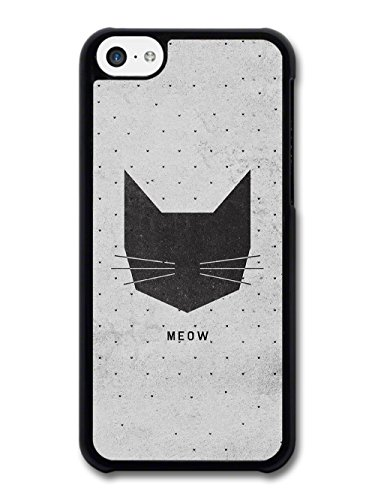 Meow Black Cat Head on Grey Polkadot Background case for iPhone 5C