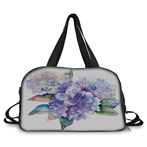 iPrint Travel handbag,Watercolor,Delicate Hydrangea Flowers Blooming Botanical Arrangement Wedding Inspired Decorative,Violet Blue ,Personalized by iPrint