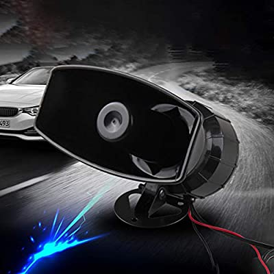 Shentesel Car Horn Vehicle Waterproof Recording Loud Speaker Siren with Mic 12V 60W 300dB - Black