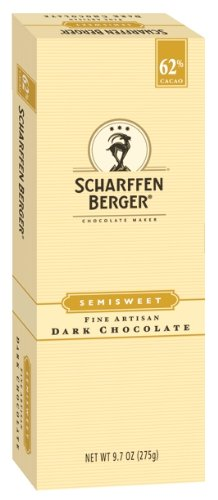 SCHARFFEN BERGER Baking Chocolate (Semisweet Dark Chocolate, 62% Cacao, 9.7-Ounce Packages, Pack of 2)
