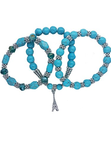 Nick Angelo's Set of 3 Ball Bracelets Created Turquoise Jewelry for Women Vintage Look Band Setting Eiffel Tower Pendant