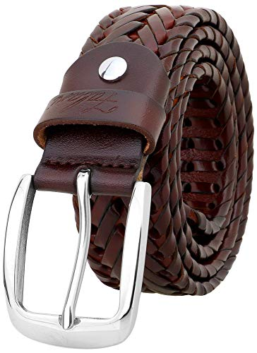 Falari Men's Braided Belt Leather Stainless Steel Buckle 35mm (9011 Brown, L 38-40) (Leather Braided For Men Belts)