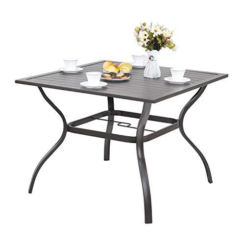 MF STUDIO Metal Steel Slat Patio Metal 37 inch Dining Table Steel Slat Bistro Large Square with 1.57″ Umbrella Hole – Brown