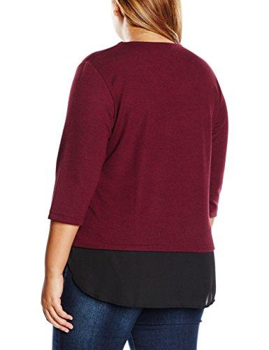 Ulla Popken Sweater Mit Chiffonbesatz, Sudadera para Mujer Rot (dunkelrot 50)