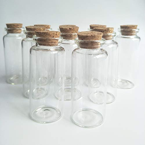 Luo House 10Pcs 30x80mm 40ml Clear Wishing Bottle Glass Jars with Cork Stoppers Small Glass Bottles for Wedding favors by Luo House