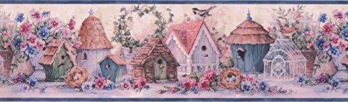Blue Flowers And Bird Houses Wallpaper Border 30101 DW