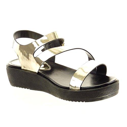Sopily - Scarpe da Moda sandali alla caviglia donna verniciato fibbia Tacco zeppa piattaforma 4 CM - Oro
