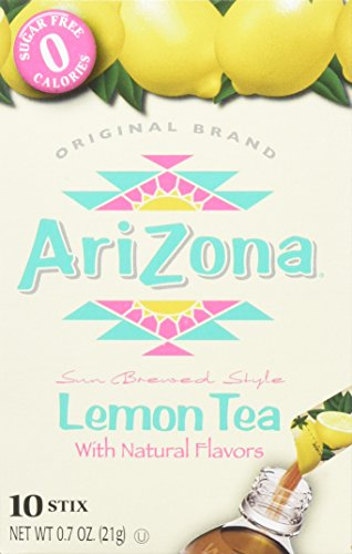 Arizona Lemon Iced Tea Stix Sugar Free, 10 Count Per Box (Pack of 6), Low Calorie Single Serving Drink Powder Packets, Just Add Water for a Deliciously Refreshing Iced Tea Beverage