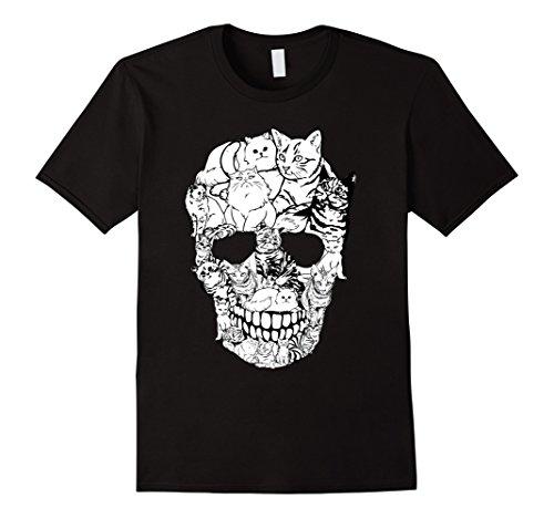 Mens Cat Skull T-Shirt - Kitty Skeleton Halloween Costume Idea Large (Mens Halloween Costume Idea)