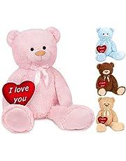 BRUBAKER XXL Teddybeer 100 cm met een Hartje - I love you - Zacht Speelgoed Knuffel