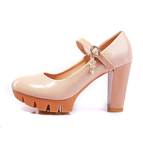 Heels Thick Shoes Round Large Single Head Leather Women Slip Mouth Non Platform High XDGG Shallow apricot Patent Shoes Waterproof nqTfwXYq7