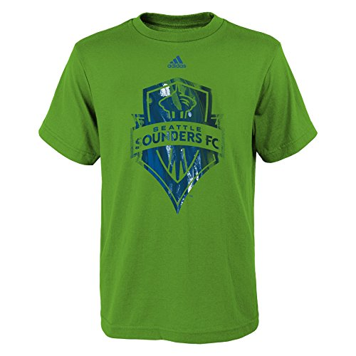 fan products of MLS Seattle Sounders FC Boys -War Paint Logo Short sleeve Tee, Rave Green, Large (14-16)