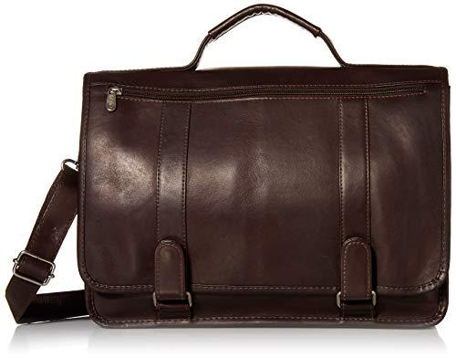 Piel Leather Double Loop Expandable Laptop Briefcase, Chocolate