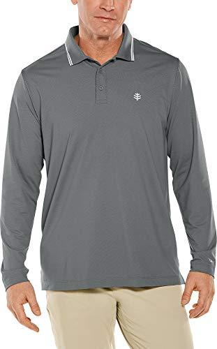 Coolibar UPF 50+ Men's Long Sleeve Links Golf Polo - Sun Protective (Medium- Pewter - Count Polo