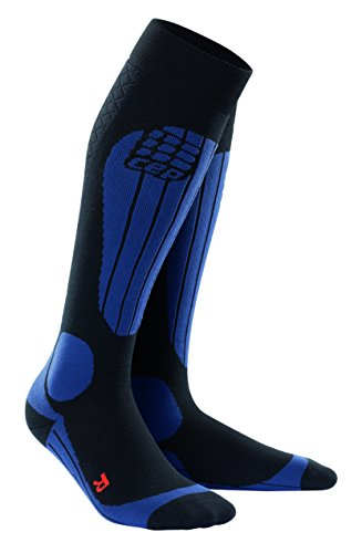 CEP Mens Progressive+ Compression Thermo Ski Socks, Black/Deep Blue, Size IV (Calf Circumference: 39-44 cm)