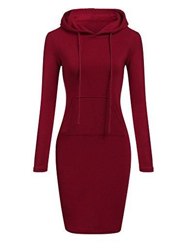 nbsp;jds Vestito Da Jumper Lunga Pullover Con Donna Fortuning's Cappuccio Manica Rosso Felpa TqUAU